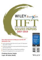 Wiley's ExamXpert IIFT (Indian Institute of Foreign Trade) Solved Papers 2007 - 2019