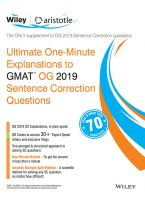 Wiley's Ultimate One-Minute Explanations to GMAT OG 2019 Sentence Correction Questions