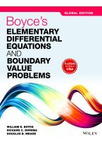 Boyce's Elementary Differential Equations and Boundary Value Problems, Global Edition